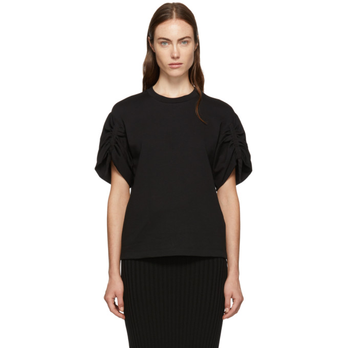 31 Phillip Lim Black Gathered Sleeves T Shirt