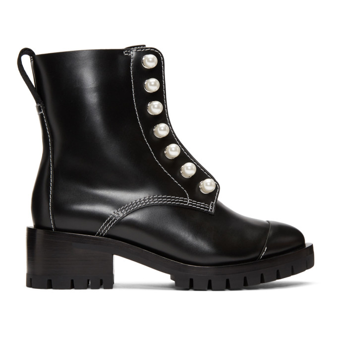 31 Phillip Lim Black Leather Lug Pearl Boots