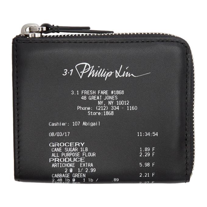 31 Phillip Lim Black Mini Receipt Zip Around Wallet