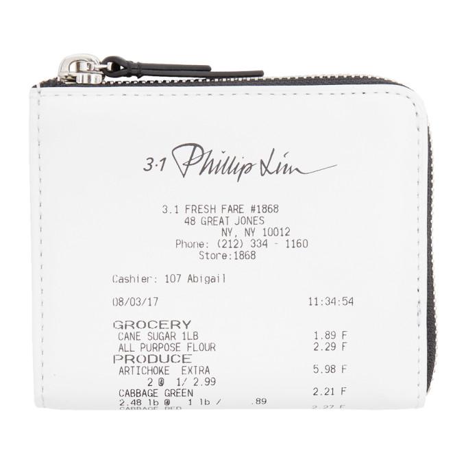 31 Phillip Lim White Mini Receipt Zip Around Wallet
