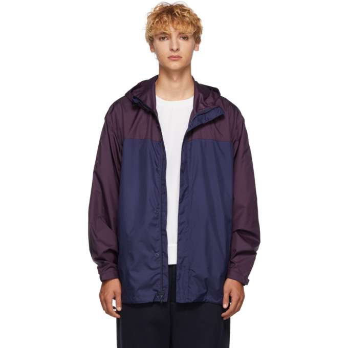 31 Phillip Lim Navy and Purple Colorblocked Hooded Jacket
