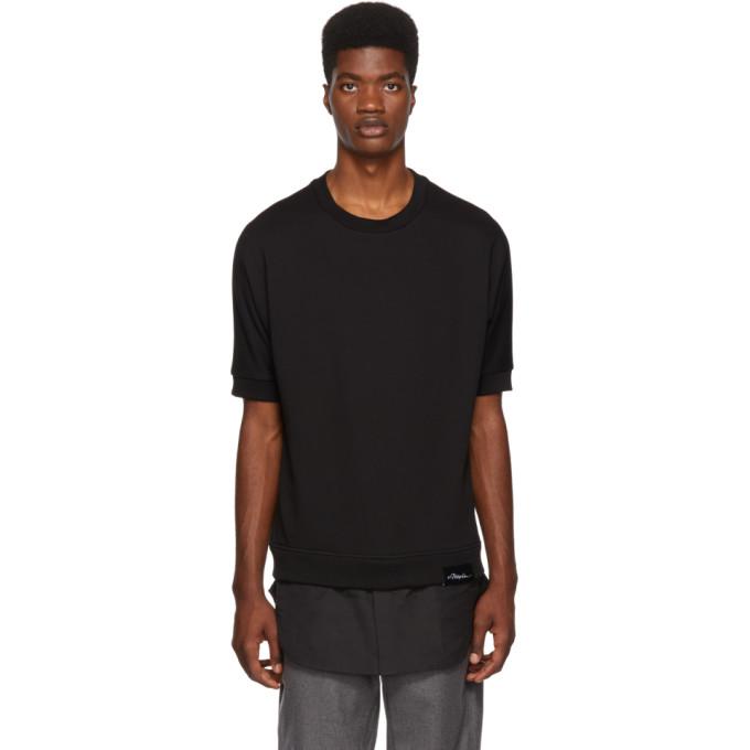 31 Phillip Lim Black Short Sleeve Poplin Hem Sweatshirt
