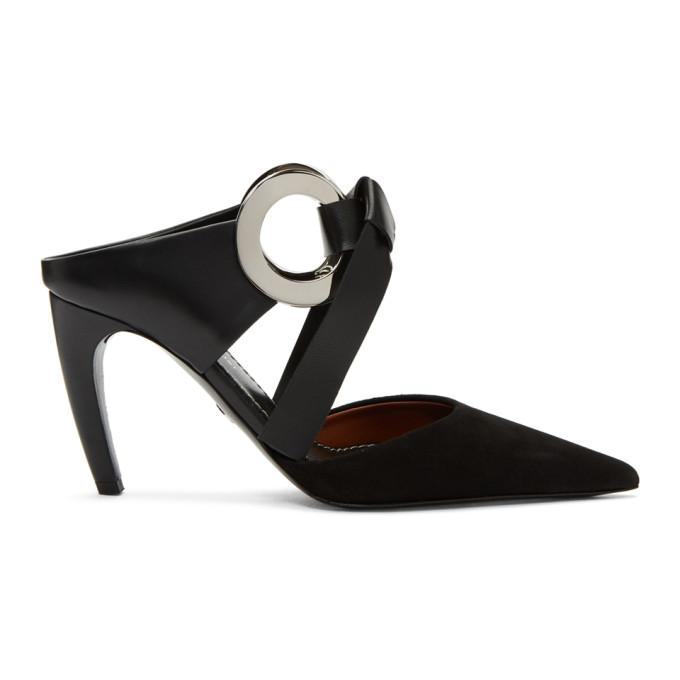 Image of Proenza Schouler Black Suede Curved Heel Mules