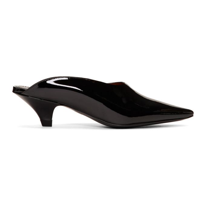 Proenza Schouler Black Patent Mule Kitten Heels