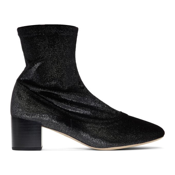 REPETTO Repetto Black Glitter Velvet Ingrid Boots in 410 Black