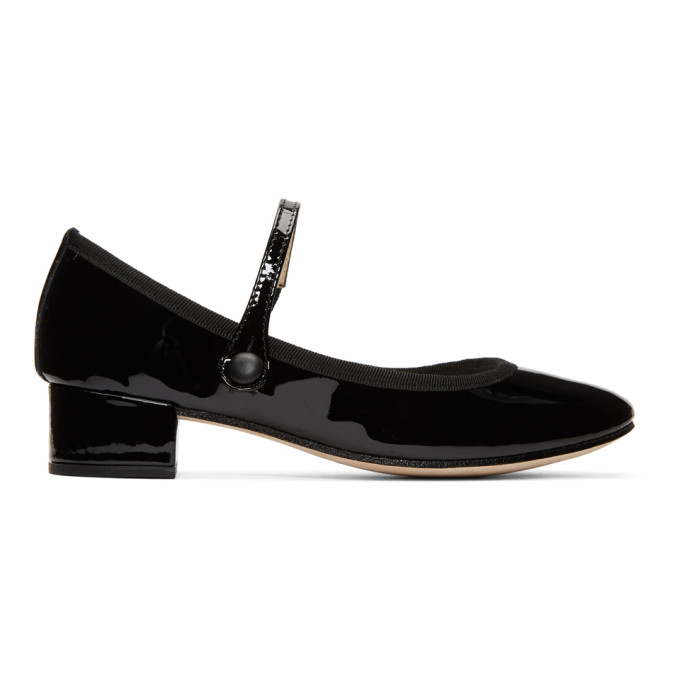Repetto Black Patent Rose Mary Jane Heels