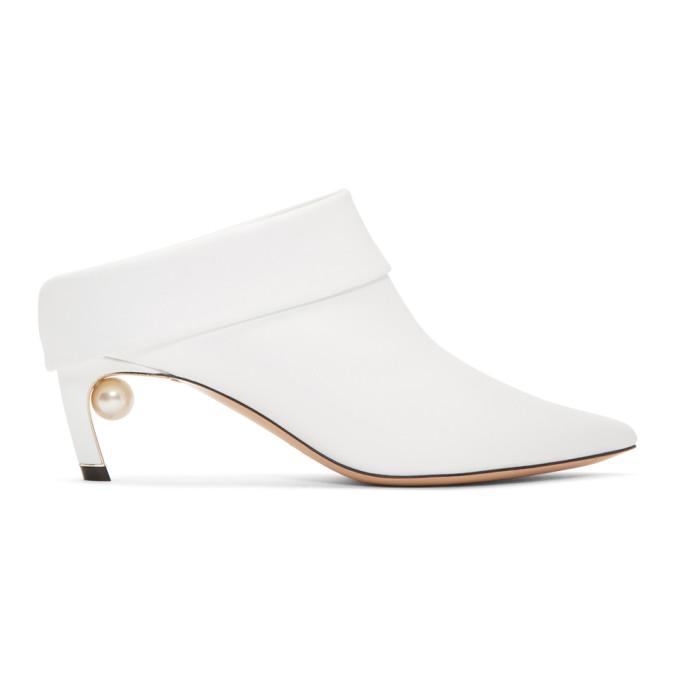 Nicholas Kirkwood White Leather Mira Mules