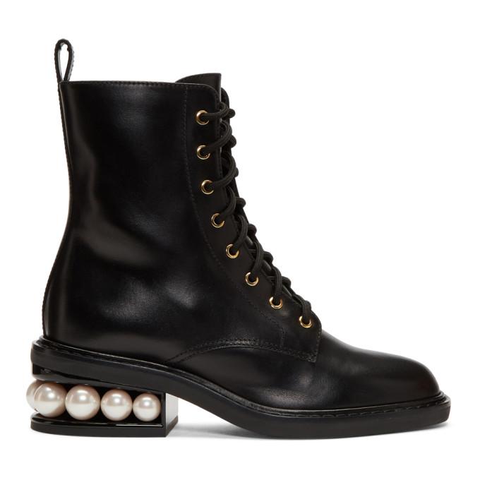 Image of Nicholas Kirkwood Black Casati Pearl Combat Boots