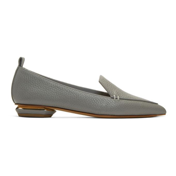 Nicholas Kirkwood Grey Leather Beya Loafers