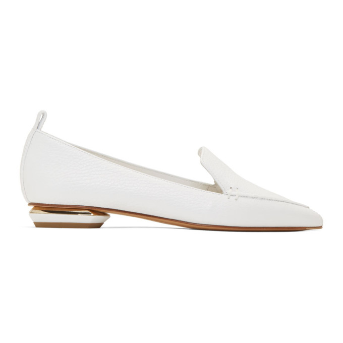 Nicholas Kirkwood White Leather Beya Loafers