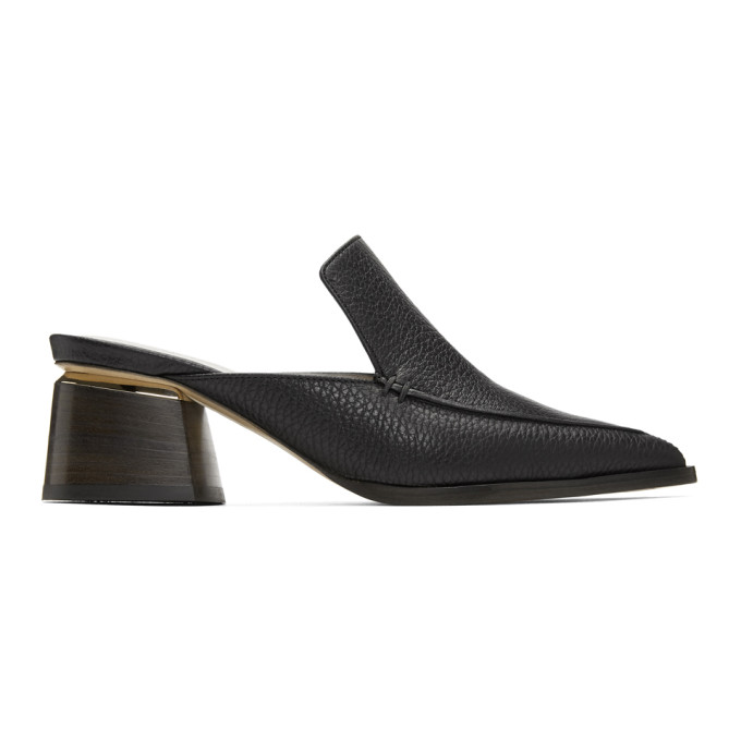 Image of Nicholas Kirkwood Black Leather Beya Mules