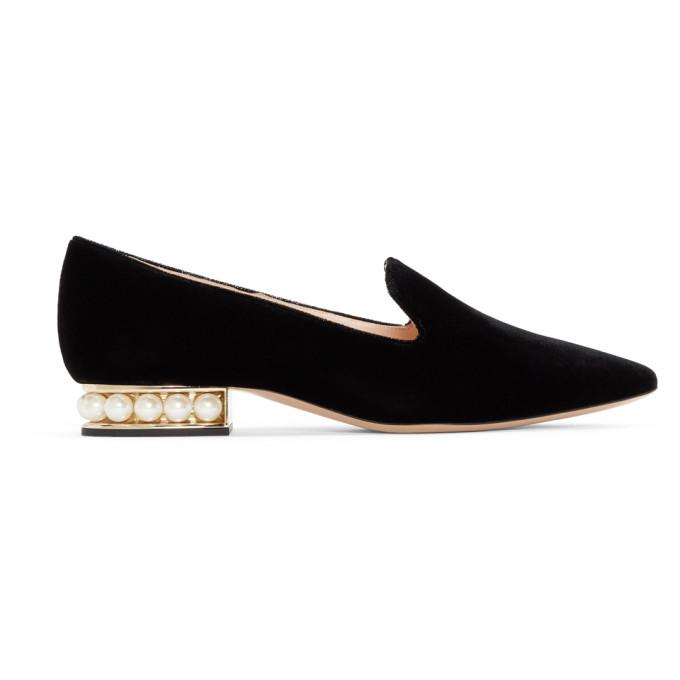 Nicholas Kirkwood SSENSE Exclusive Black Velvet Casati Slip-On Loafers
