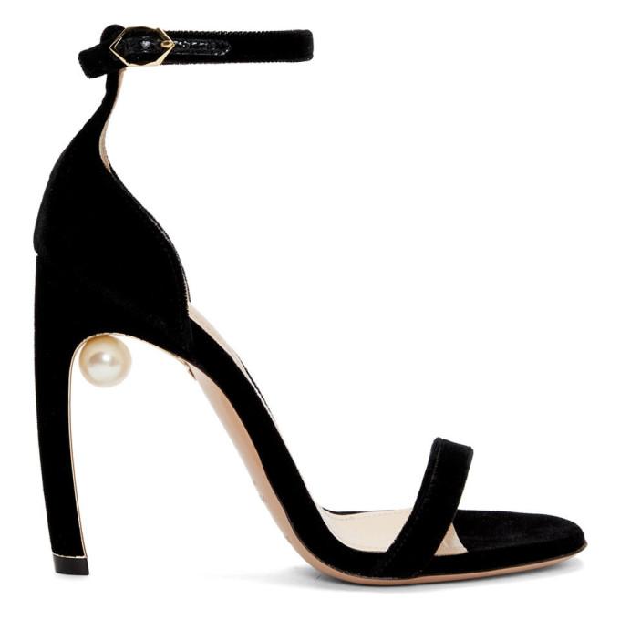 Nicholas Kirkwood Black Velvet Mira Pearl Sandals