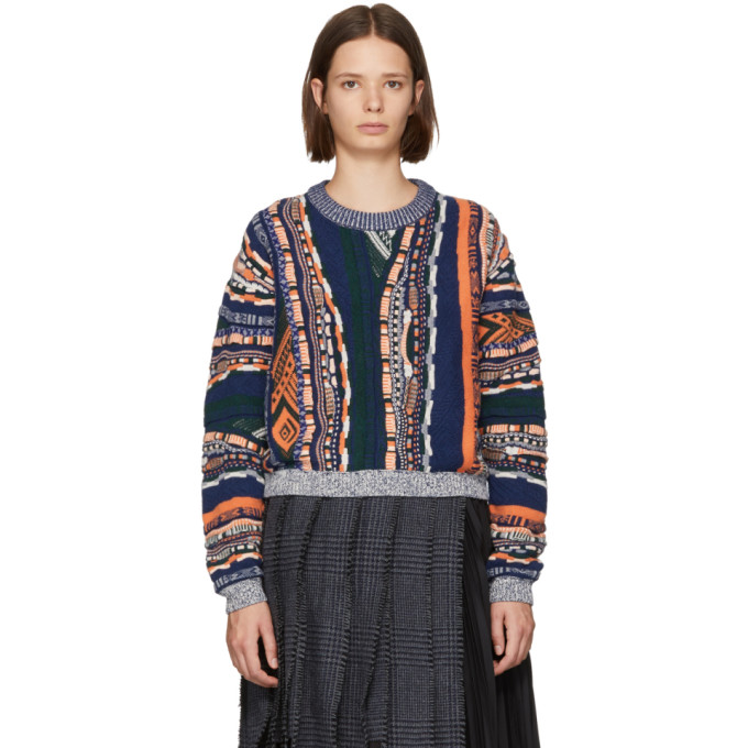 Carven CARVEN MULTICOLOR MIXED WEAVE SWEATER