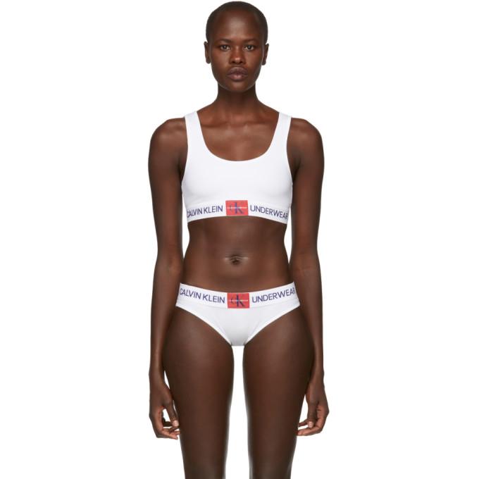 Calvin Klein Underwear White Monogram Mesh Bralette