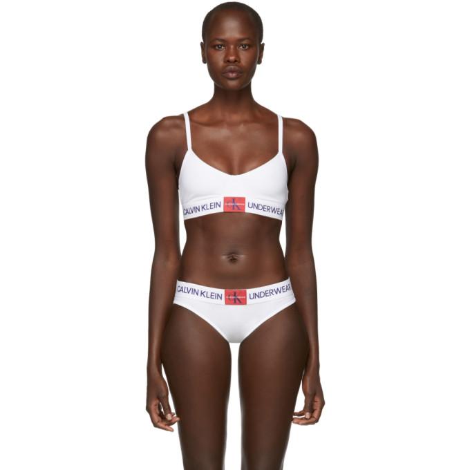 Calvin Klein Underwear White Triangle Monogram Mesh Bra