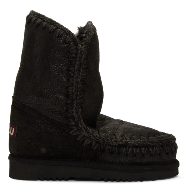 Mou Black Cracked Eskimo 24 Boots