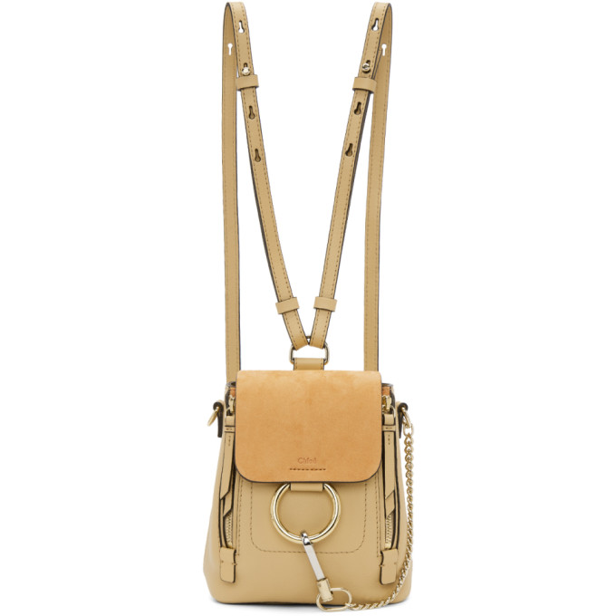 Image of Chloé Beige Mini Faye Backpack