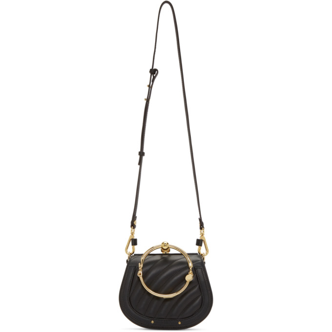 Chloe Black Small Quilted Nile Bracelet Bag