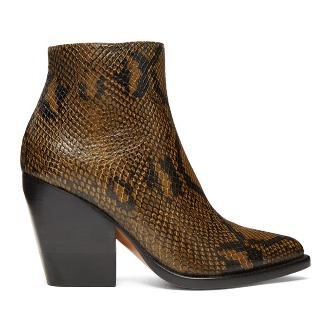 Chloe Tan Short Snake Boots