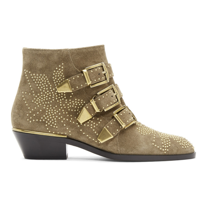 Chloe Beige Embellished Three Strap Ankle Boots