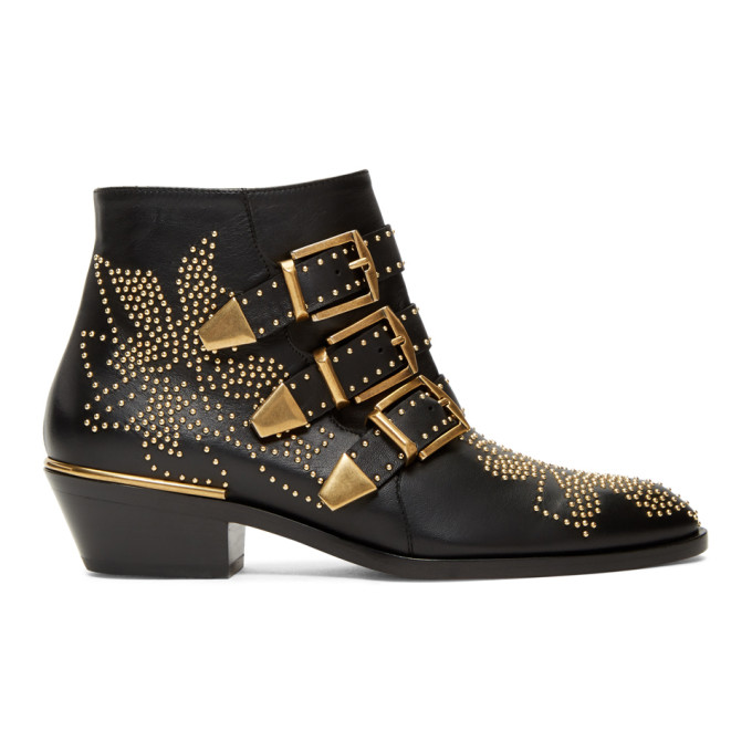 Chloe Black & Gold Susanna Boots
