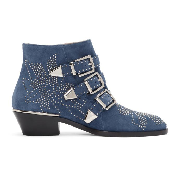 Chloe Blue Suede Susanna Ankle Boots