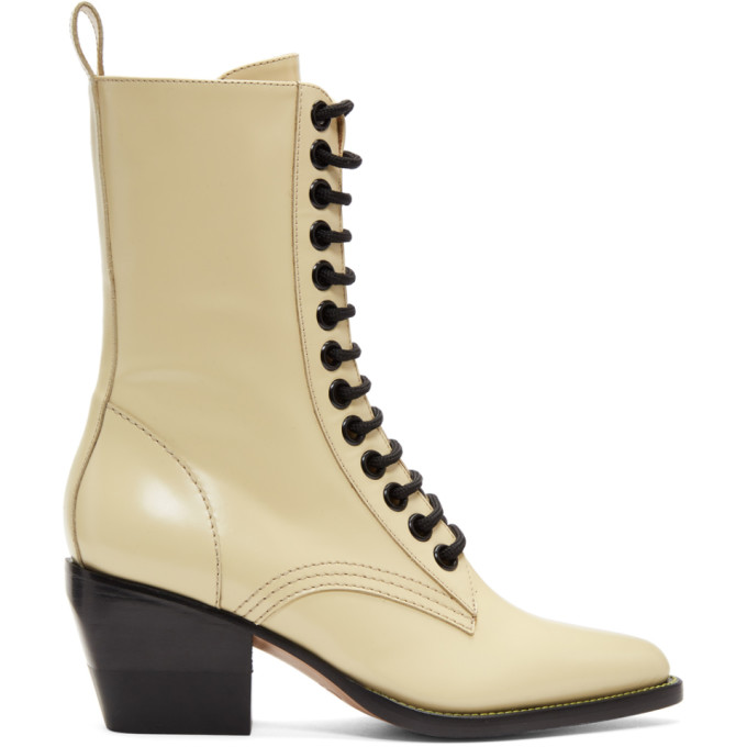 Chloe Yellow Lace-Up Boots