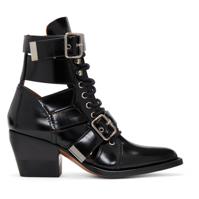 Chloe Black Rylee Strap Boots