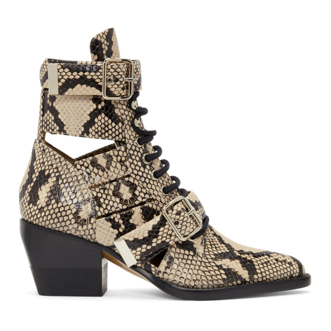 Chloe Grey Snake Rylee Strap Boots