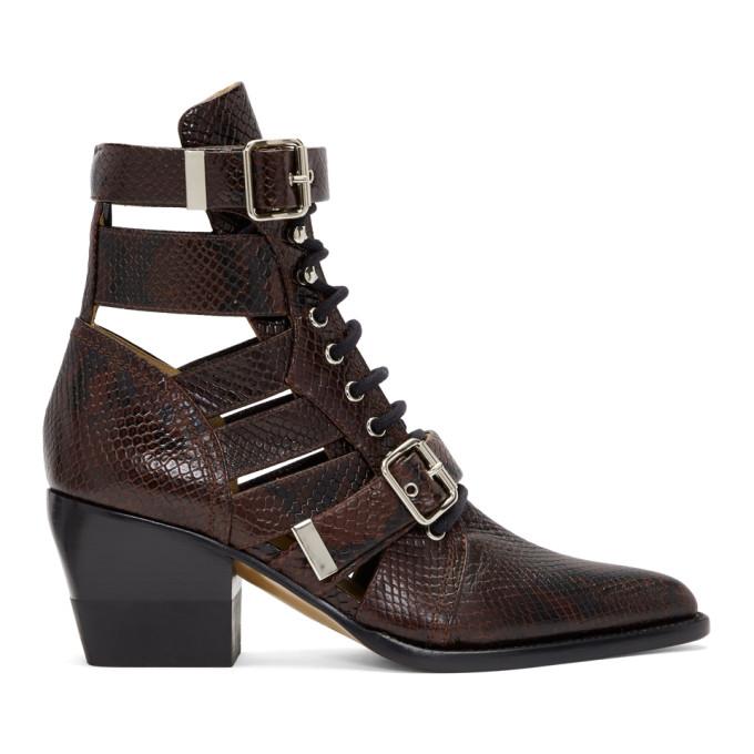 Chloe Burgundy Snake Rylee Strap Boots