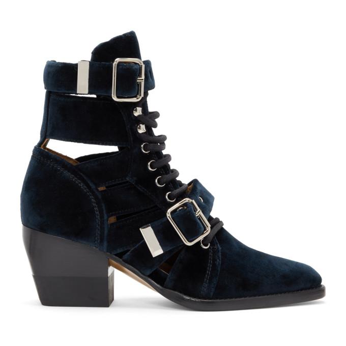 Chloe Navy Velvet Rylee Strap Boots