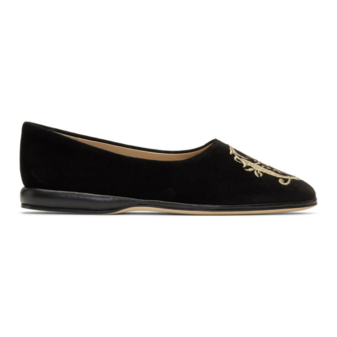 Chloe Black Embroidered Slip-On Loafers