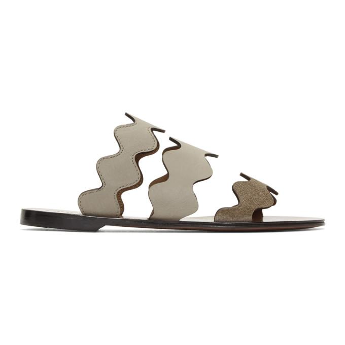 Chloe Grey Wavy Three-Strap Sandals