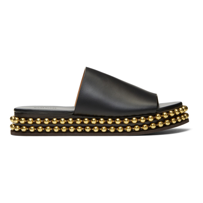 Chloe Black & Gold Sawyer Sandals
