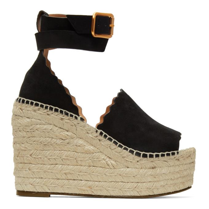 Chloé Black Suede Lauren Wedge Sandals