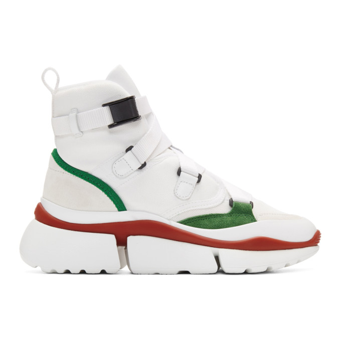 Chloe White & Green Sonnie High-Top Sneakers