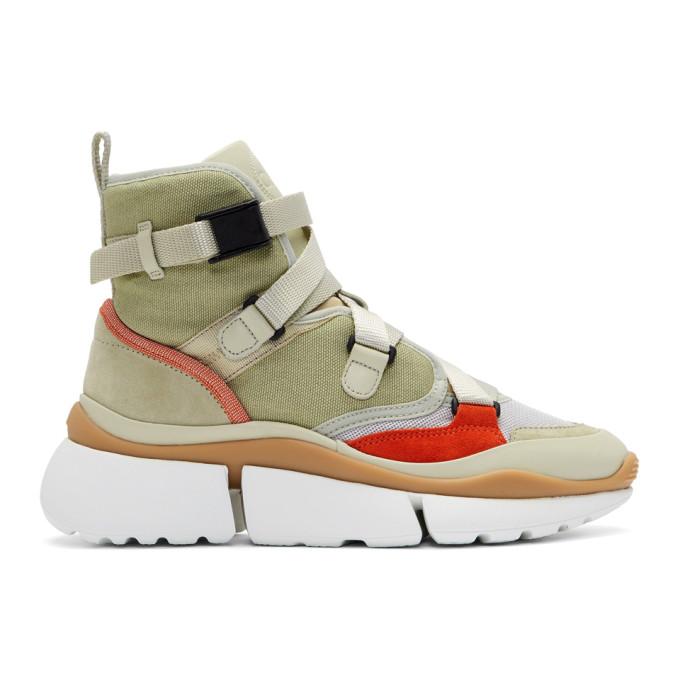 Chloe Green Sonnie High-Top Sneakers