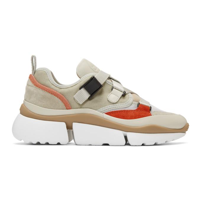 Image of Chloé Beige & Grey Sonnie Sneakers