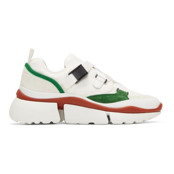 Chloe White & Green Sonnie Sneakers