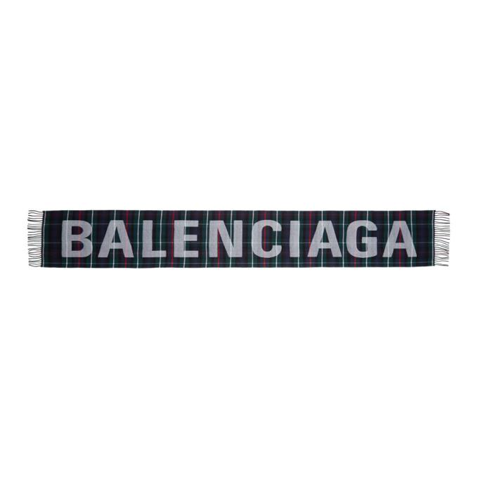 Balenciaga Foulard a carreaux et logo multicolore