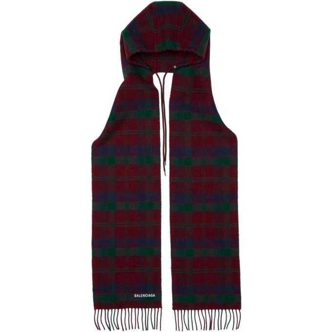 Balenciaga Foulard a capuche et carreaux rouge