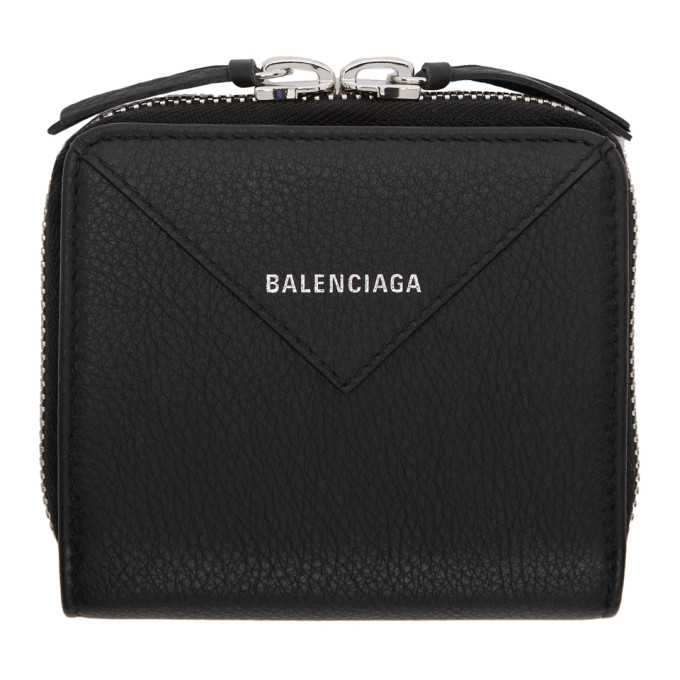 Balenciaga ブラック スクエア ペーパー ジップ アラウンド ウォレット