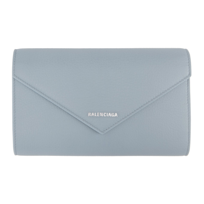Balenciaga Blue Paper Zip Around Wallet