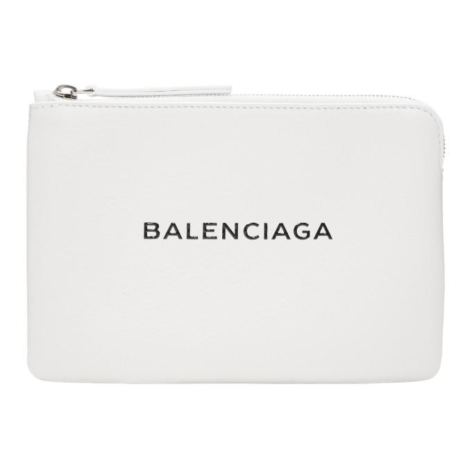 Balenciaga White Large Everyday Pouch