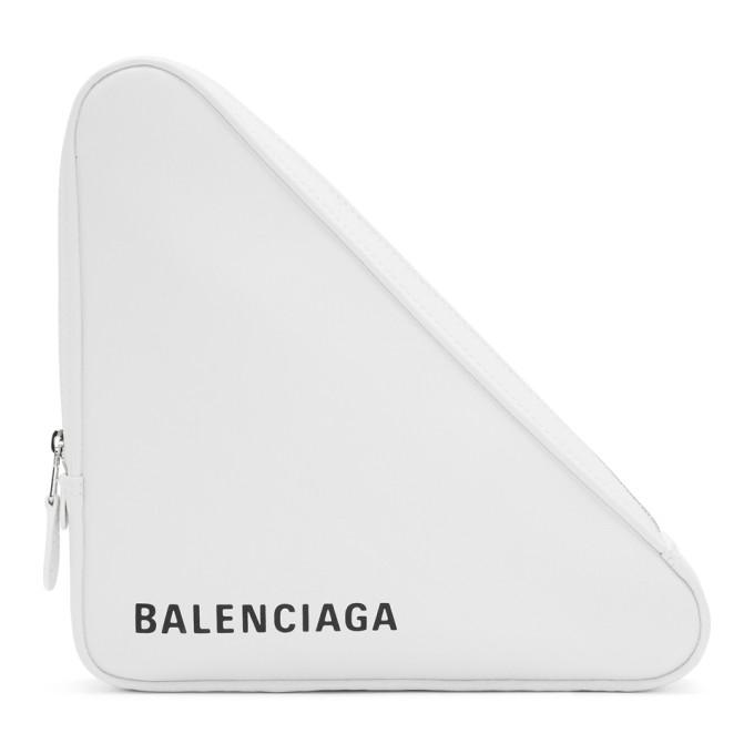Balenciaga White Medium Triangle Pouch