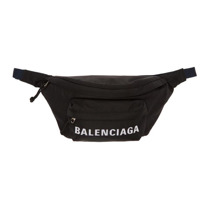 Balenciaga ブラック & ネイビー ホイール ベルト ポーチ