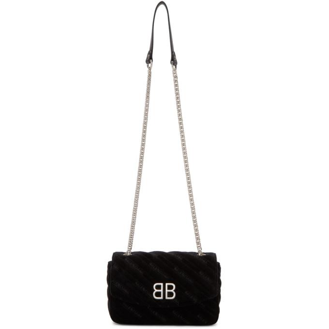 Balenciaga Black Velvet BB Chain Wallet