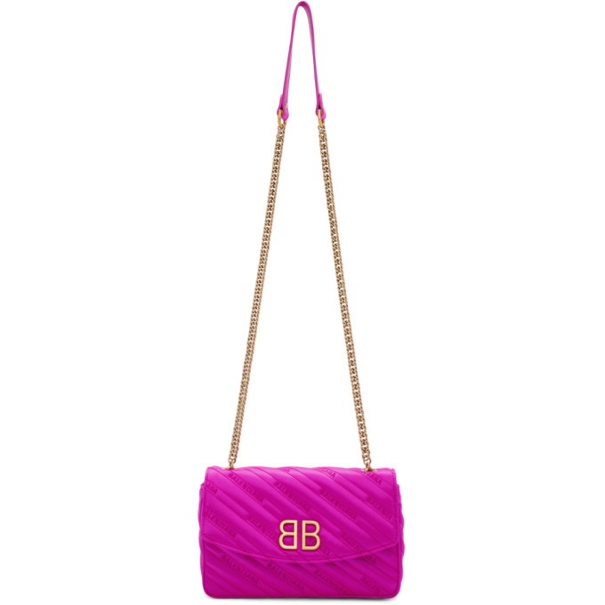Balenciaga Pink Satin BB Chain Wallet Bag