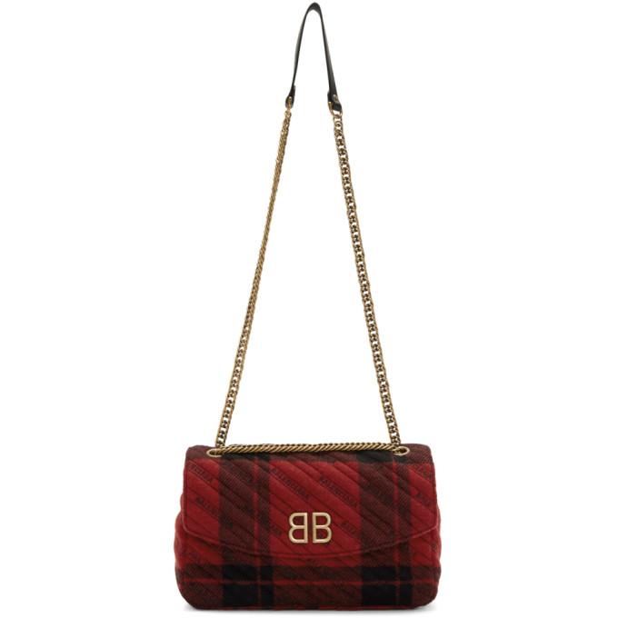 Balenciaga Red & Black Medium Plaid BB Round Bag